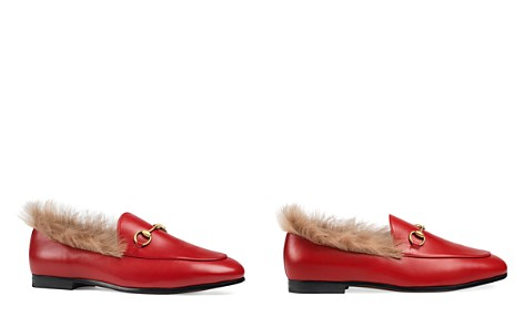 Gucci Women's Jordaan Leather & Lamb Fur Loafers - Bloomingdale's_2